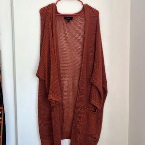 Dark orange crochet knit cardigan
